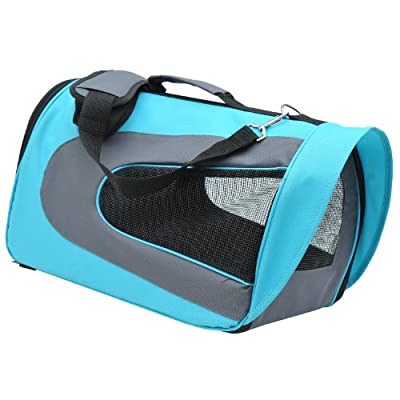 PawHut Foldable Soft Sided Pet Carrier Dog Cat Airline Bag Crate Sky Blue and Grey