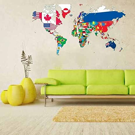 Amazon full color wall decal mural sticker decor big world map full color wall decal mural sticker decor big world map banners flag countries gumiabroncs Images