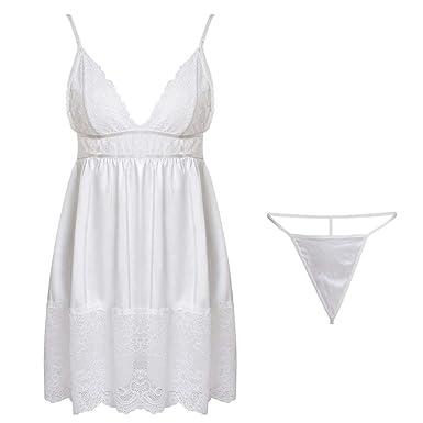 186cd7a95bf Overmal Femmes Mode Nouveau Vêtements De Pyjama Robe Babydoll Dentelle  Lingerie Sexy Sling Robe De Bain Robe De Nuit Couleur Unie sous-Vêtements  sans ...