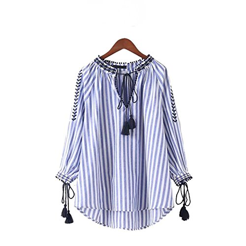 JIANGTAOLANG Women V Neck Floral Embroidery Shirts Bow Tie Long Sleeve Pleated Blouse Retro Tops as Picture S