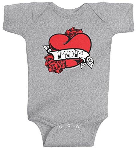 Threadrock Baby Boys' Mom Heart Tattoo Infant Bodysuit 6M Sport Gray for $<!--$13.95-->