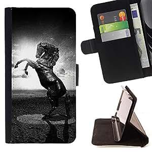 BullDog Case - FOR/LG OPTIMUS L90 / - / horse black white mustang powerful sun /- Monedero de cuero de la PU Llevar cubierta de la caja con el ID Credit Card Slots Flip funda de cuer