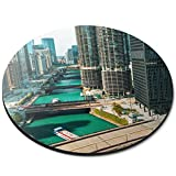 Round Mouse Mat - Downtown Chicago River City Office Gift - RM16946