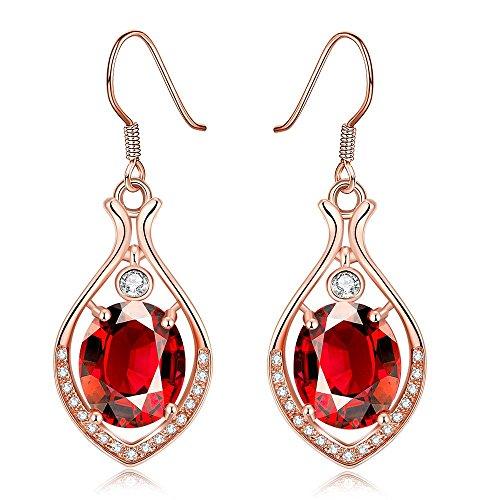 Dangle Earrings,Wonvin 18K Rose Gold Plated Red Crystal Drop Hook Dangle Earrings for Women Jewelry by Wonvin