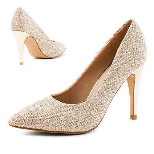 Stylische Damen Glitzer Party Pumps High Heels Gold