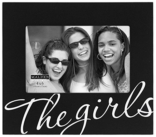 Malden International Designs The Girls in Cursive Words Picture Frame, 4x6, Black