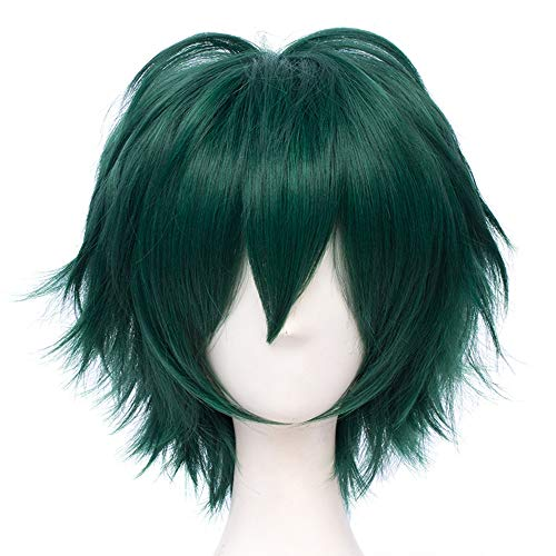 Max Beauty Unisex Anime Short Cosplay Short Wigs With Bangs Heat Resistant Hair for Party and Halloween for Gift + Free Cap (Jade F23)