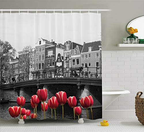 Ambesonne Black and White Decorations Shower Curtain, Monochrome Photo of Amsterdam Canal with Red Tulips Houses, Fabric Bathroom Decor Set with Hooks, 70 Inches, Black White