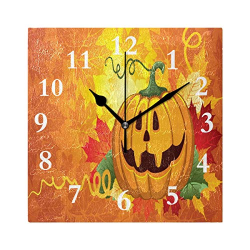 FunnyCustom Square Wall Clock Halloween Beautiful Pumpkin 7.8 Inch Creative Decorative for Living Room/Kitchen/Bedroom -