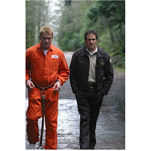 Officer Jumpsuit (The Dead Zone 8 inch x 10 inch PHOTOGRAPH Anthony Michael Hall in Orange Prison Jump Suit Hands Cuffed and Chris Bruno in Officer Uniform Walking Outside Full D)