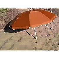 Parasol Pliable Compact Orange Diam 160 cm en Suivant la courbure. Nylon avec Protection UV UPF50+ (SGS). Longueur plié dans Son Sac: 70 cm. Idéal pour Le Camping, la Plage, la randonnée