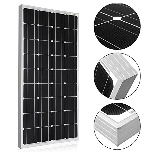Powereco 100 Watt Solar Kit for 12V Battery of RV and Boat Monocrystalline Solar Panel with 20A LCD Charge Controller, MC4 Tray Cable and Z-Brackets for Mounting 100w, Kit with Controller