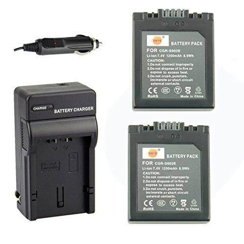 DSTE Replacement for 2X CGR-S002 CGR-S002E Battery + DC62 Travel and Car Charger Adapter Compatible Panasonic Lumix DMC-FZ1 FZ2 FZ3 FZ4 FZ5 FZ10 FZ15 FZ20 Camera as CGA-S002 DMW-BM7