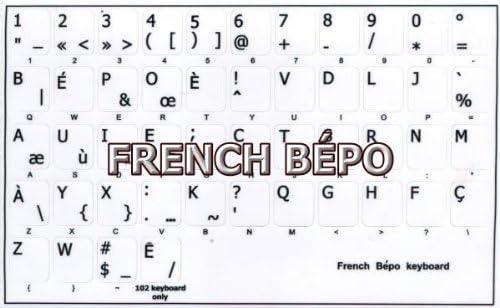 FRENCH BEPO KEYBOARD STICKER WHITE BACKGROUND NON-TRANSPARENT