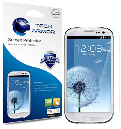 Tech Armor HD Clear Film Screen Protector (Not Glass) for Samsung Galaxy S3 S - Galaxy S3 Protector Phone