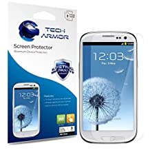 Tech Armor Samsung Galaxy S3 S III Premium High Definition (HD) Clear Screen Protectors with Lifetime Replacement Warranty [3-PACK] - Retail Packaging