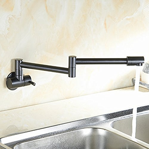 JiaYouJia Single Lever Wall-Mount Retractable Pot Filler Faucet Cold Only with Dual Swing Joints Antique Black -  0020602-Antique Black