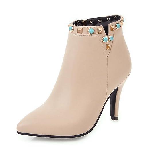 Women Colorful Beads Stiletto Heels Velvet Ankle boots