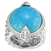 Sterling Silver Turquoise and Created White Sapphire Ring, Size 7 by HNJ, Inc.