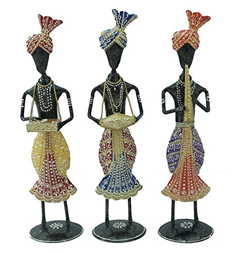Papier Mache Bell (Crafticia Wrought Iron Tribal Lady Musical Doll Statue Set Indian Antique Pink City Traditional Handmade Handicraft Gift Item Home Decor Metal Musical Showpiece / Figurine)