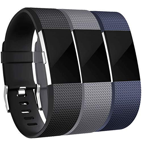 Maledan Bands Replacement Compatible with Fitbit Charge 2, 3 Pack, Black/Blue/Gray, Large