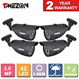 TMEZON 4 Pack 2.0MP CMOS Sensor 1080P AHD/960H Over Analog Weatherproof 42 IR Wide Angle Lens Camera with OSD For Sale