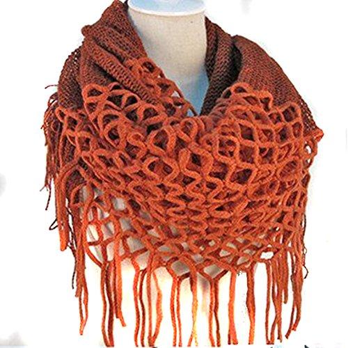 Nsstar Women Winter Warm Crochet Knit Long Tassels Soft Wrap Shawl Scarves Scarf Two Styles Infinity and Straight (Orange) - Knit Fringe Scarf