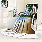 YOYI-HOME Weave Pattern Extra Duplex Printed Blanket Personalized for ations Gazebo Theme s Palm Tree Fabric Beach House withWooden Windows and Pan Custom Design Cozy Flannel Blanket/79 W by 47'' H