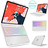 iPad Pro 12.9 Keyboard Case 2018 3rd Gen - Boriyuan Protective Ultra Slim Hard Shell Folio Stand Smart Cover with Multicolor Backlit Wireless Bluetooth Keyboard for iPad Pro 12.9 inch 2018 - Silver