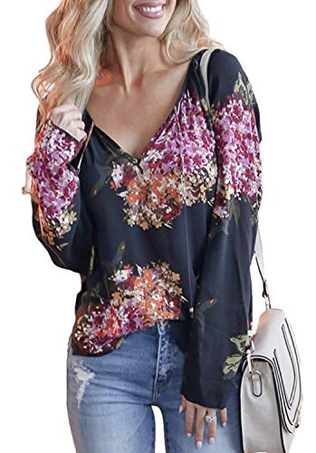 KEUUF Womens Casual Printed V Neck Long Sleeve T Shirt Blouse Tops(S-XXL,5 Colors)