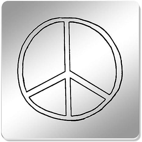 Azeeda 6 x Simbolo de Paz Cuadrado Espejo Posavasos (CR00165278 ...