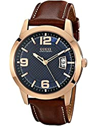 GUESS Mens Stainless Steel Leather Watch, Color: Brown (Model: U0494G2)