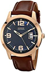 GUESS Men's U0494G2 Contemporary Rose Gold-Tone Stainless Steel Watch With Honey Brown Leather Band