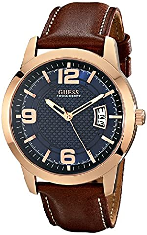 GUESS Men's U0494G2 Contemporary Rose Gold-Tone Stainless Steel Watch With Honey Brown Leather Band (Leather Round Watch)
