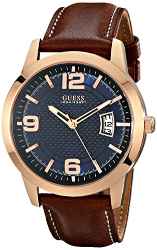 GUESS Mens U0494G2 Contemporary Rose Gold-Tone Stainless Steel Watch With Honey Brown Leather Band
