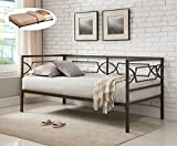 Vegas Pewter Twin Size Metal Day Bed Frame With Black Roll Out Trundle, Headboard, Footboard, Rails & Slats (Twin Daybed & Trundle)