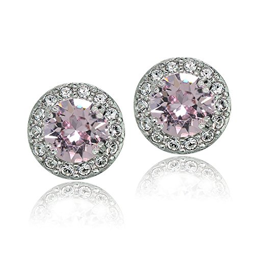 Bria Lou 925 Sterling Silver Rose and Clear October Birthstone Color Halo Stud Earrings Made with Swarovski Crystals, 10mm - Stone Age Earrings