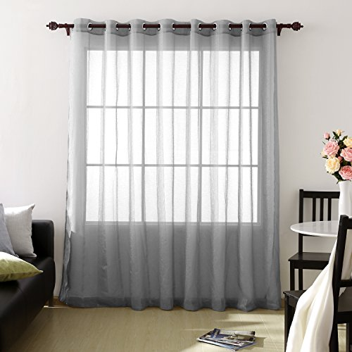 Deconovo Faux Linen Voile Curtain Grommet Top 100 Width Window Sheer Curtains for Living Room One Panel 84 Inch Long Sheer Drape Grey