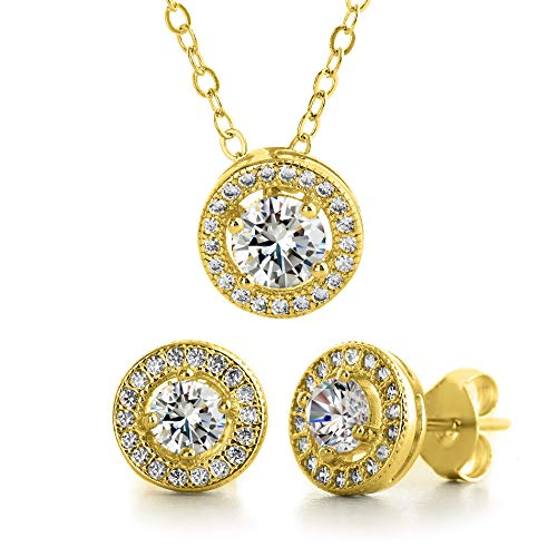 Gold Plated Pendant Set - MIA SARINE Round Cubic Zirconia Halo Earrings and Pendant Set in Yellow Gold Plated 925 Sterling Silver (Yellow)