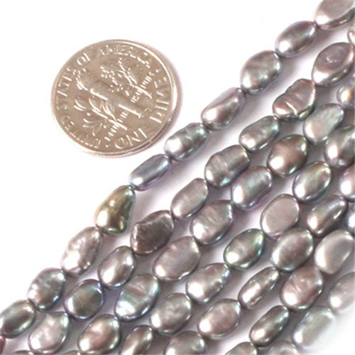 GEM-inside 5X6mm Freeform Black Silver Freshwater Cultured Pearl Beads Strand 15 Inchesjewelry Making Beads ()