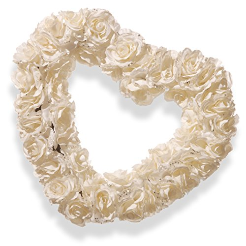 National Tree 17 Inch White Rose Heart Wreath (RAW-HQ05A-1)