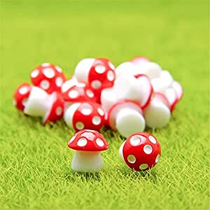 Danmu 10pcs Mini PVC Mushrooms Miniature House Fairy Garden Micro Landscape Home Garden Decoration Plant Pots Bonsai Craft Decor (Red)