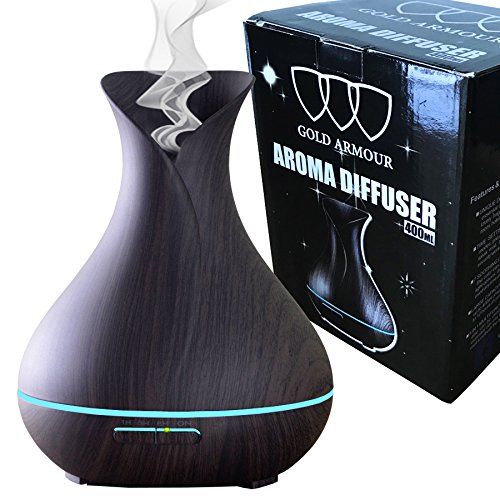 Gold Armour 400ml Aromatherapy Essential Oil Diffuser, Wood Grain Aromatherapy Diffuser Ultrasonic Cool Mist Humidifier with Color Lights Changing Auto Shut-Off for Bedroom Home Baby Room Yoga (Dark)