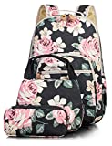 Leaper School Backpack for Girls + Lunch & Pencil Case Set Floral Black Deal (Small Image)