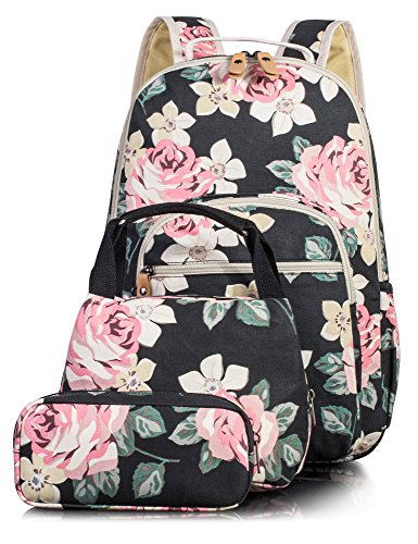 (Leaper Floral School Backpack for Girls Daypack Insulated Lunch Bag Purse)
