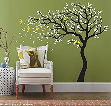 Yanqiao DIY Removable Wall Art Decoration Wall Mural Vinyl Wall Decal Tree  And Flying Birds Cherry