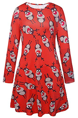 coollight Women's Long Sleeve Empire Waist Full Length Maxi Dress Ugly Dress(Red Reindeer -