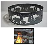 PD Metals Steel Campfire Fire Ring Bears N' Cubs Design - Unpainted - with Fire Poker - Medium 38 d x 12 h Plus Free eGuide