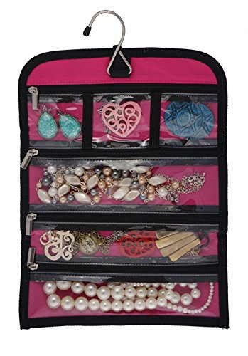 8'' x 11'' Hanging Travel Jewelry & Accessories Organizer Roll Bag (White Polka Dots & Pink/Pink) by Simple Accessories (Image #2)