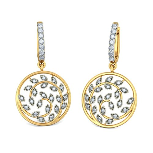 Or jaune 18K 0,54CT TW White-diamond (IJ | SI) Boucles d'oreilles créoles